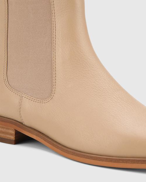 Aleksander Sesame Leather Elastic Gusset Ankle Boot. & Wittner & Wittner Shoes