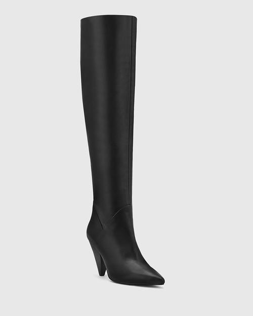 Hendrick Black Leather Pointed Toe Slouch Long Boot. & Wittner & Wittner Shoes