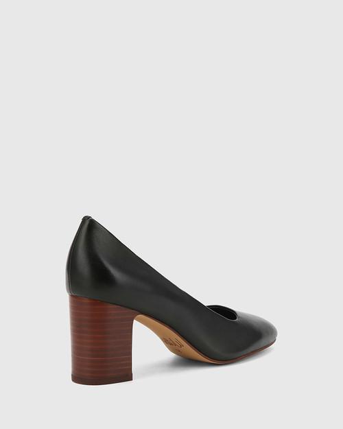 Gale Black Leather Square Toe Block Heel. & Wittner & Wittner Shoes