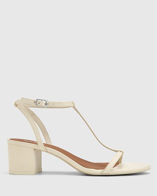 Inara Buttercream Leather Open Toe Block Heel Sandal. & Wittner & Wittner Shoes