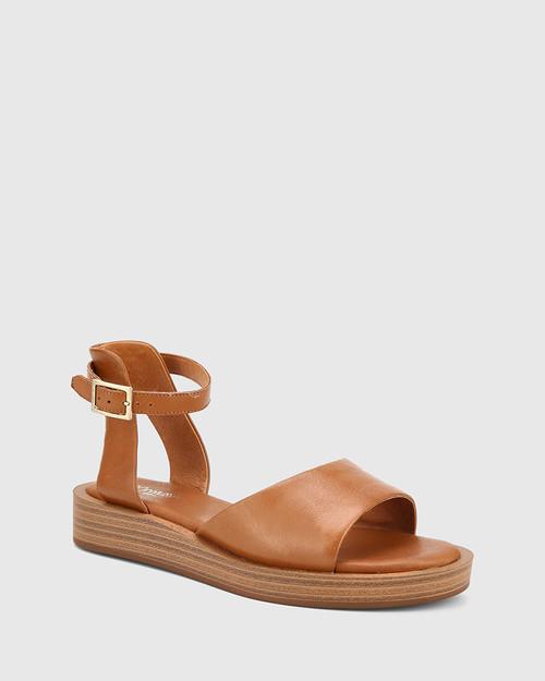 Eaves Dark Cognac Leather Open Toe Platform Sandal.