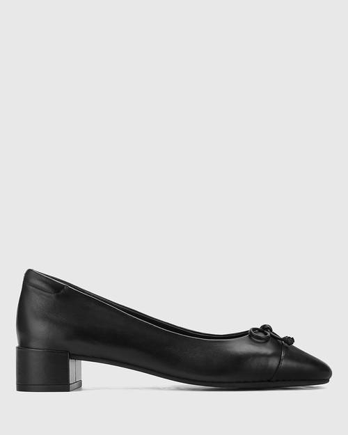 Barbra Black Leather Low Block Heel Flat