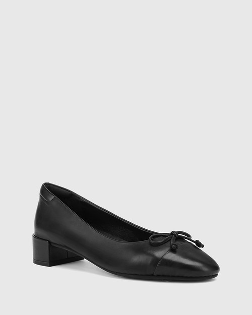Barbra Black Leather Low Block Heel Flat