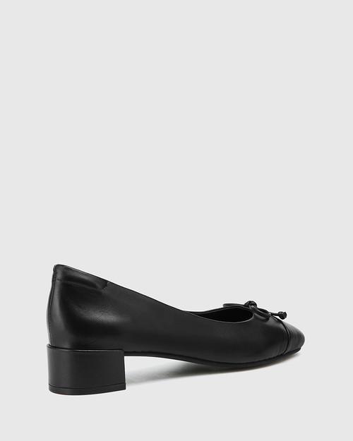 Barbra Black Leather Low Block Heel Flat.