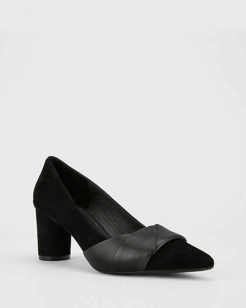 Deonna Black Leather And Suede Block Heel Pump.