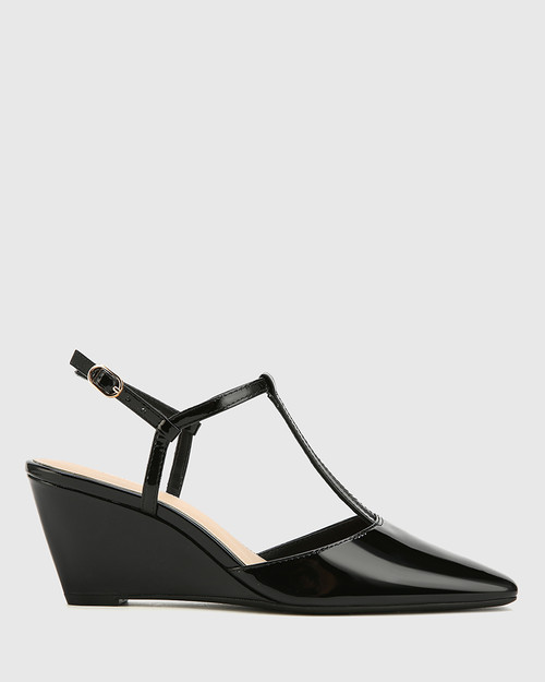 Polette Black Patent Leather Pointed Toe Wedge