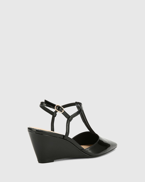 Polette Black Patent Leather Pointed Toe Wedge.
