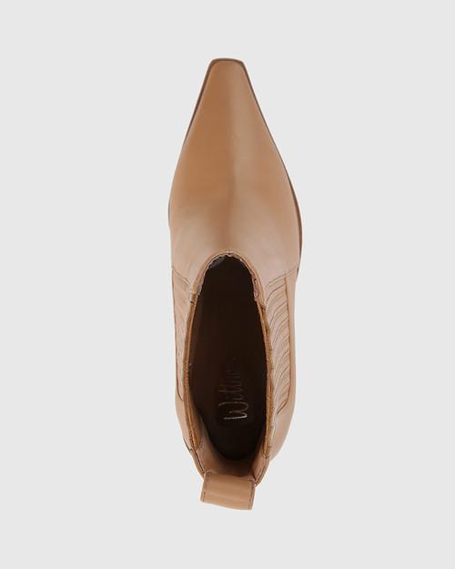 Hadriana Desert Beige Leather Wedge Heel Ankle Boot. & Wittner & Wittner Shoes