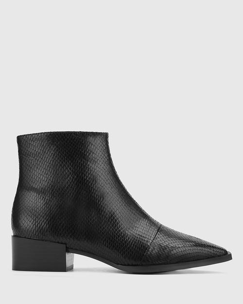 Cade Black Matte Mini Snake Print Leather Snib Toe Ankle Boot. & Wittner & Wittner Shoes
