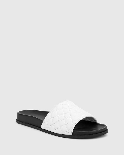 Berman White Leather Quilted Open Toe Slide.