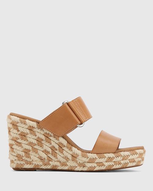Velina Tan Leather Slip On Wedge Sandal. & Wittner & Wittner Shoes