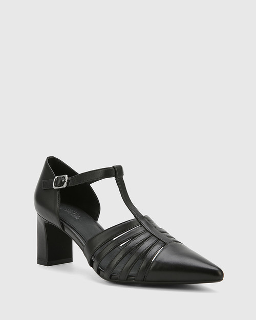 Dontae Black Leather Blocked Heel T-Bar Pump.