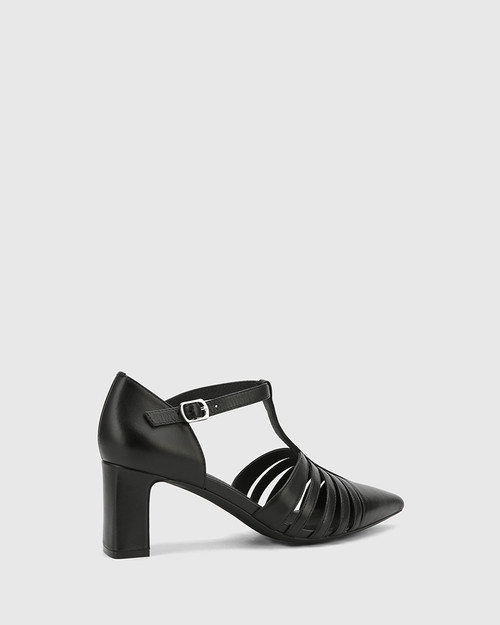 Dontae Black Leather Blocked Heel T-Bar Pump