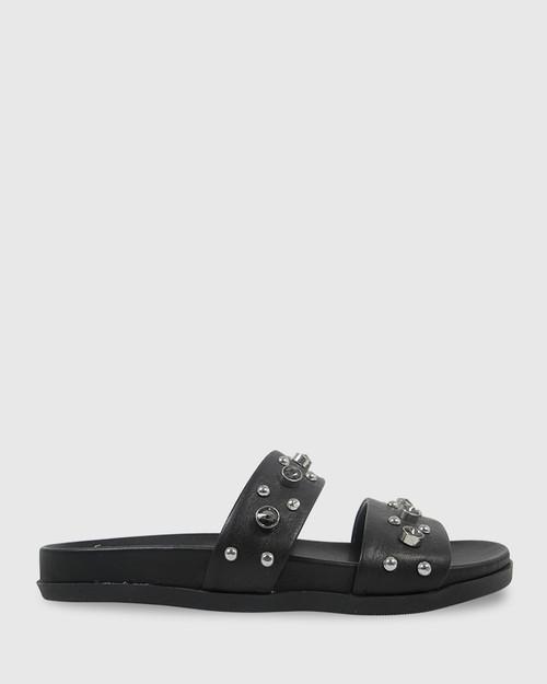 Kit Black Leather Black Diamonte Flat Slide. & Wittner & Wittner Shoes