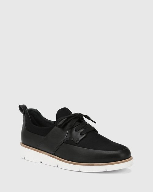 Jig Black Leather and Stretch Mesh Knit Sneaker