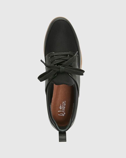 Jig Black Leather and Stretch Mesh Knit Sneaker & Wittner & Wittner Shoes