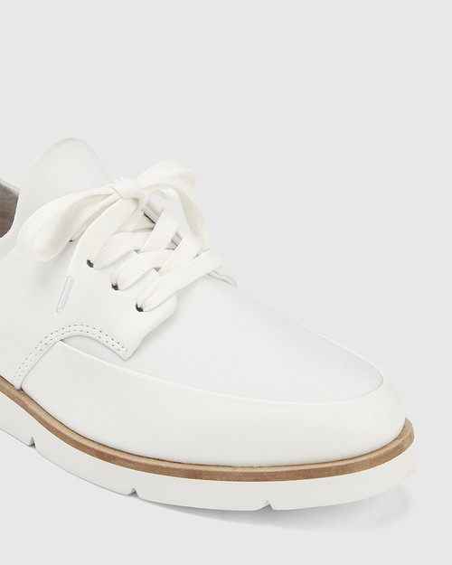 Jig White Leather and Stretch Mesh Knit Sneaker & Wittner & Wittner Shoes