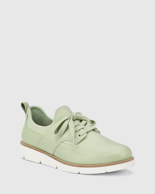 Jig Leaf Green Leather and Stretch Mesh Knit Sneaker