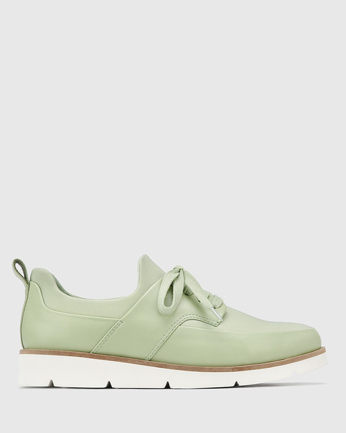 Jig Leaf Green Leather and Stretch Mesh Knit Sneaker & Wittner & Wittner Shoes
