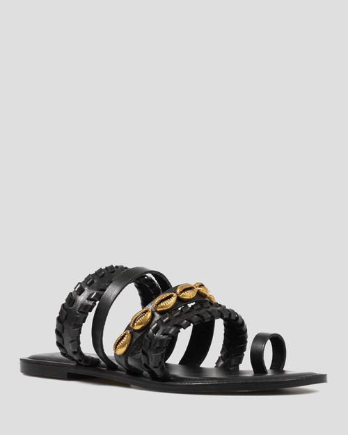 Idalah Black Leather Shell Detail Flat Sandal.