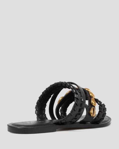 Idalah Black Leather Shell Detail Flat Sandal. & Wittner & Wittner Shoes