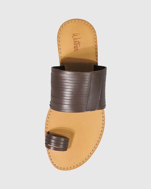 Constanza Chocolate Leather Slip On Flat Sandal.