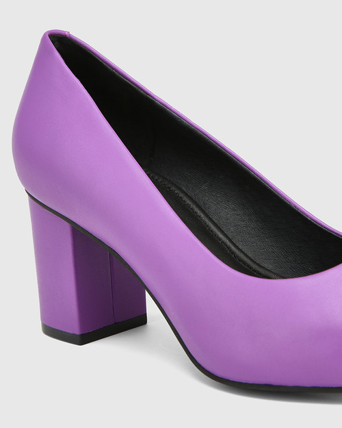 Penrose Amethyst Leather Block Heel Pump & Wittner & Wittner Shoes