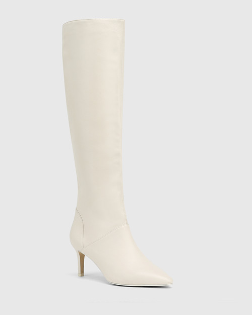 Daffy White Leather Stiletto Heel Long Boot