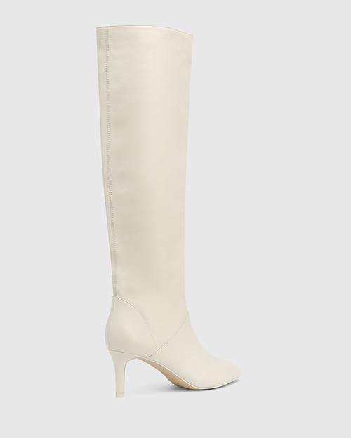Daffy White Leather Stiletto Heel Long Boot & Wittner & Wittner Shoes