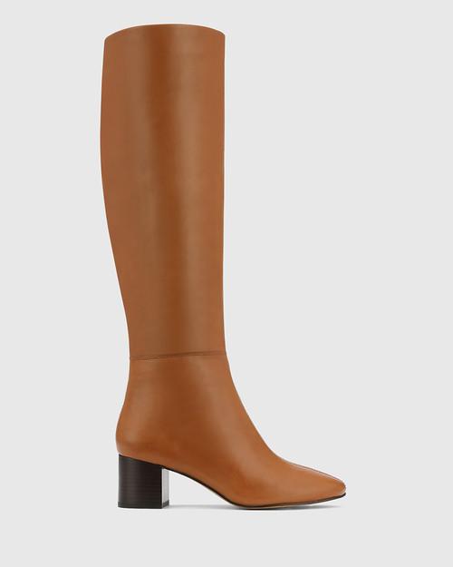 Aniya Tan Leather Round Toe Long Boot & Wittner & Wittner Shoes