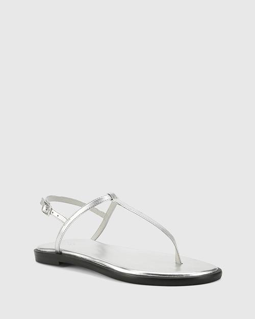 Cadderly Silver Leather Open Toe Flat Sandal.