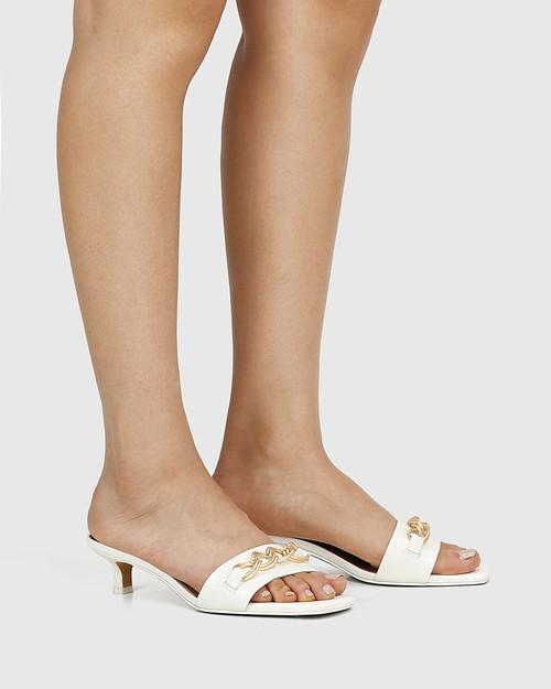 Jacqueline White Leather Chain Detail Kitten Heel & Wittner & Wittner Shoes