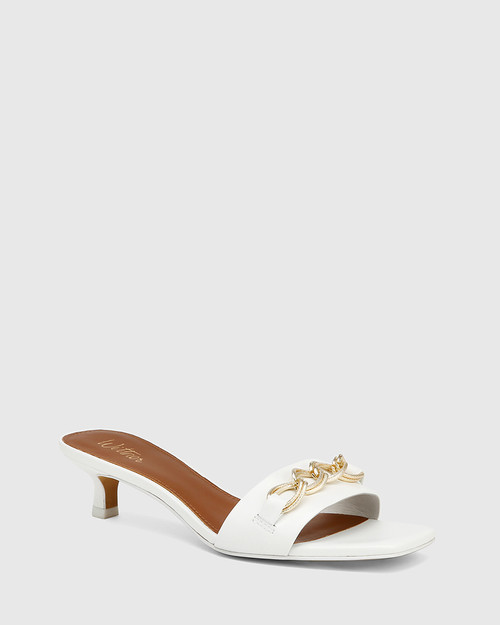 Jacqueline White Leather Chain Detail Kitten Heel