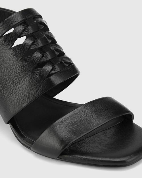 Devanti Black Leather Plaited Front Blocked Heel Sandal. & Wittner & Wittner Shoes