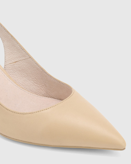 Nancie Honey Leather Pointed Toe Slingback Mid Heel.