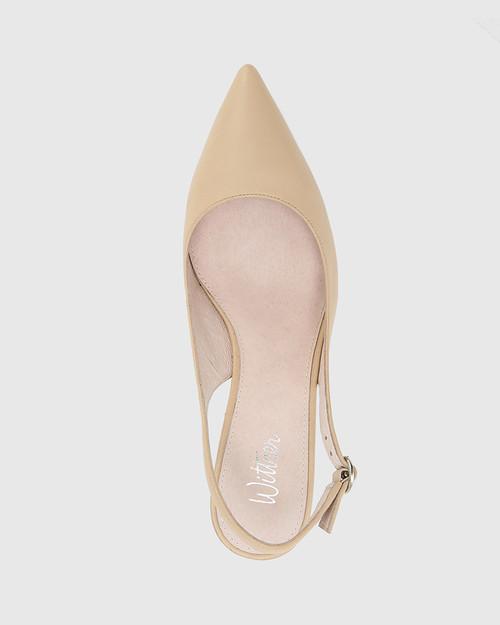 Nancie Honey Leather Pointed Toe Slingback Mid Heel. & Wittner & Wittner Shoes