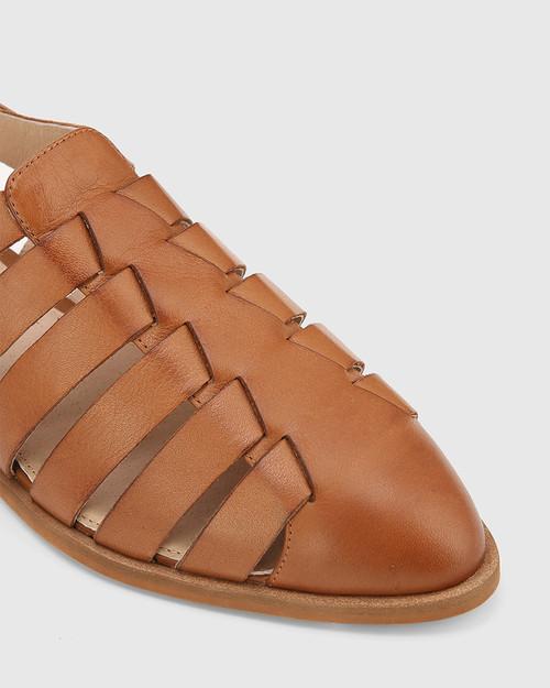 Edgar Dark Cognac Leather Closed Toe Flat Sandal. & Wittner & Wittner Shoes