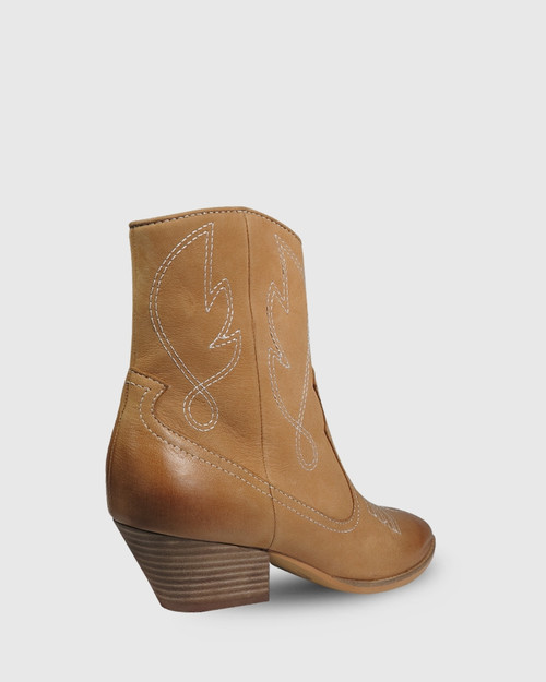 Keith Tan Leather Embroidered Western Style Ankle Boot. & Wittner & Wittner Shoes