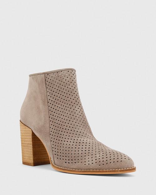 Haruko Stone Suede Perforated Block Heel Ankle Boot. & Wittner & Wittner Shoes