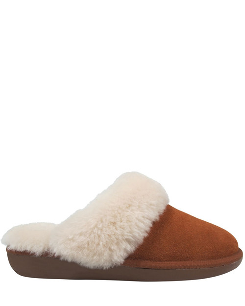 Cosy Tobacco Suede Shearling Lined Mule Slipper. & Wittner & Wittner Shoes