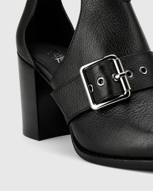 Holie Black Leather Buckle Boot Heel Boot. & Wittner & Wittner Shoes