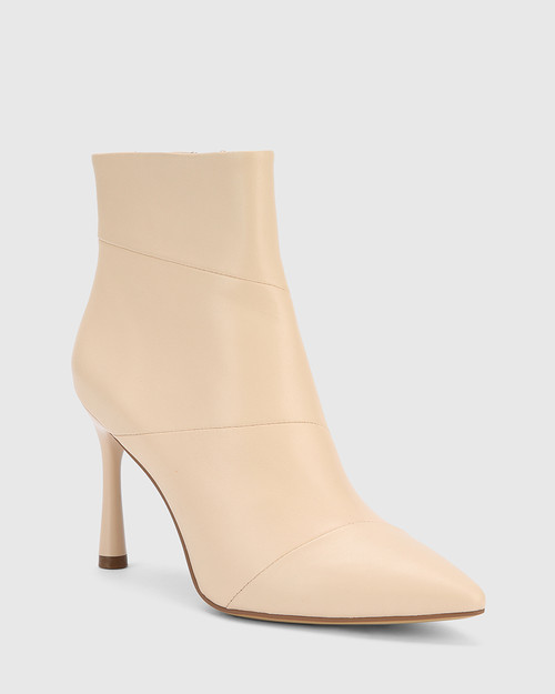 Havita Pearl Leather Pointed Toe Stiletto Ankle Boot.
