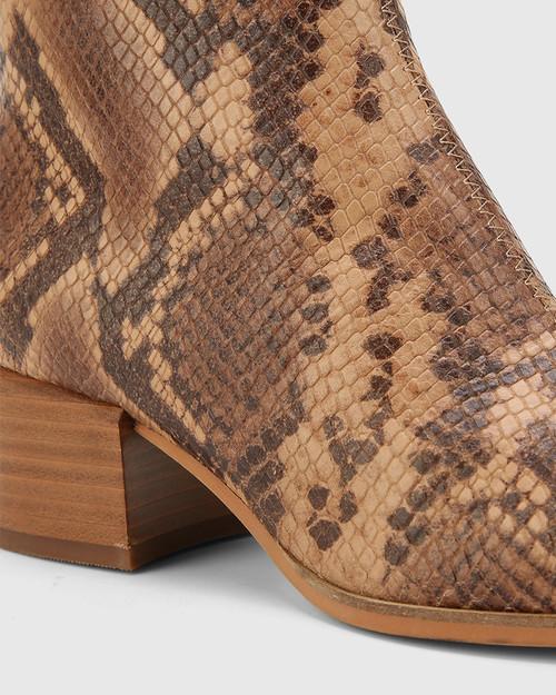 Olyvier Desert Beige Anaconda Print Leather Soft Leather Ankle Boot. & Wittner & Wittner Shoes