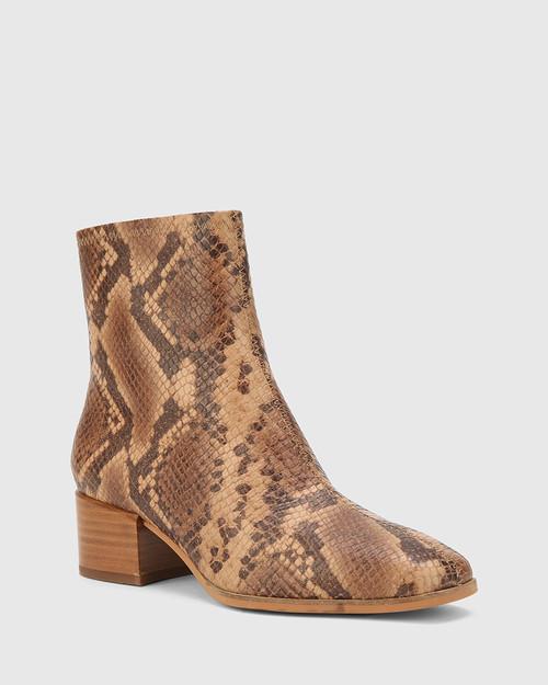 Olyvier Desert Beige Anaconda Print Leather Soft Leather Ankle Boot.