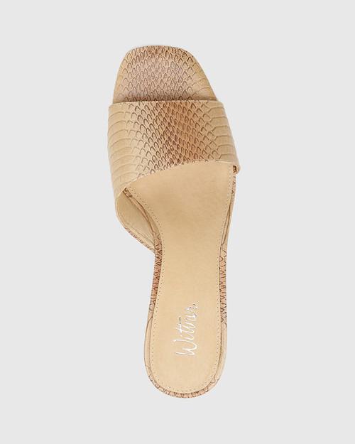 Delaney Beige Python Print Leather Wedge Heel Slide.
