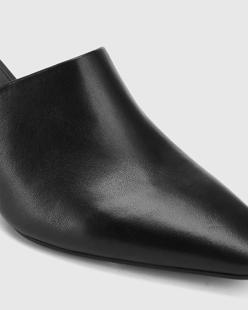 Polina Black Leather Snib Toe Wedge Mule. & Wittner & Wittner Shoes