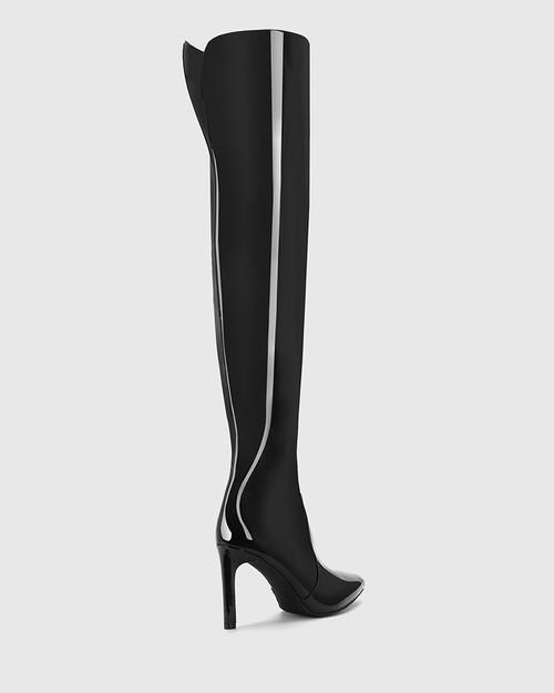 Howey Black Patent Slouch Over The Knee Boot. & Wittner & Wittner Shoes
