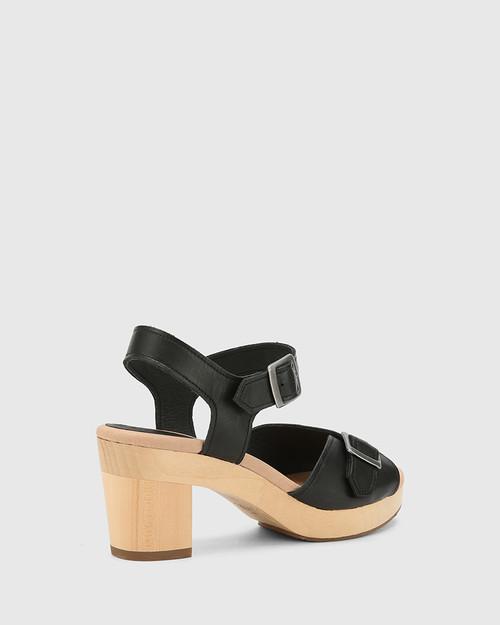 Kalika Black Leather Wooden Block Heel Sandal. & Wittner & Wittner Shoes