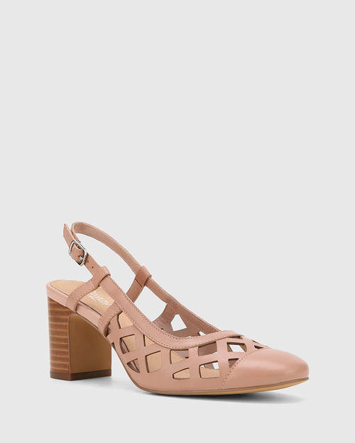 Gildan Petal Pink Leather Laser Cut Sling Back Pump
