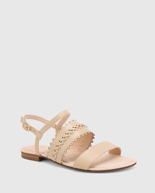 Christina Ecru Leather Open Toe Flat Sandal.
